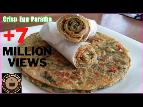 Crispy egg paratha recipe | homemade restaurant-style flaky layered egg paratha roll-anda paratha-