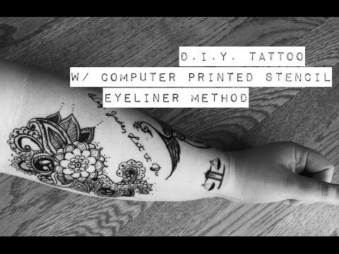 Realistic DIY Tattoo Eyeliner Method with Stencil