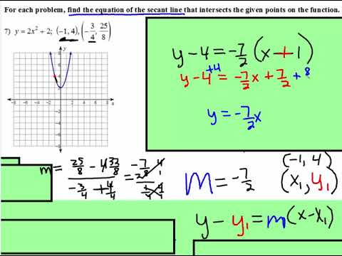 Secant Line: Finding Equation of Secant Line
