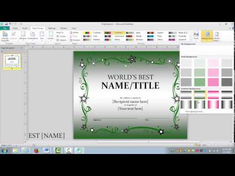 How to make an awards certificate in Publisher