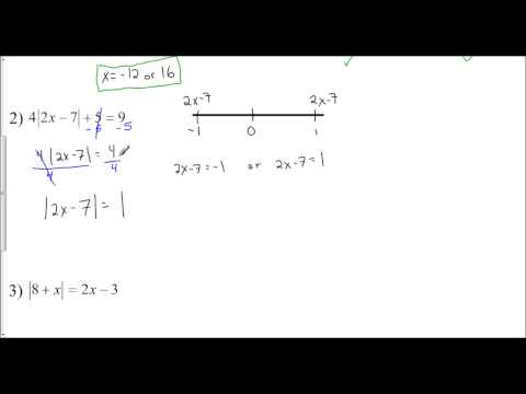 Lesson 1.3 - Solving Absolute Value Equations (Exercise Set #4)