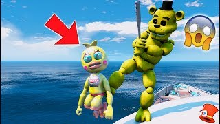 GOLDEN FREDDY HITS ADVENTURE TOY CHICA OFF THE SHIP! (GTA 5 Mods For Kids FNAF RedHatter)