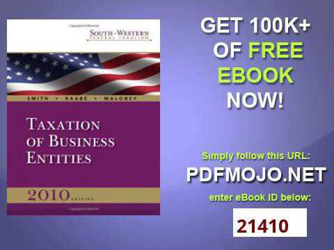 South Western Federal Taxation 2010 Taxation of Business Entities with TaxCut Tax Preparation Softwa