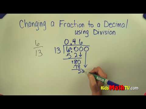 How to convert fractions to decimals 5th, 6th, 7th grade