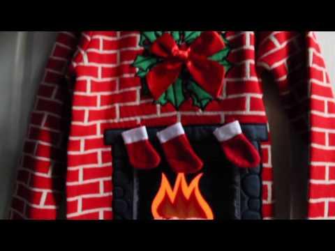 Flashing Fireplace Light-Up Christmas Sweater