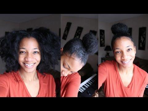5 mins Natural Hair High Bun : No Gel Method (Quick and Easy)   Annesha Adams