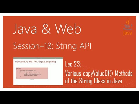 String API in Java | #23 | Various copyValueOf() Methods of the String Class in Java