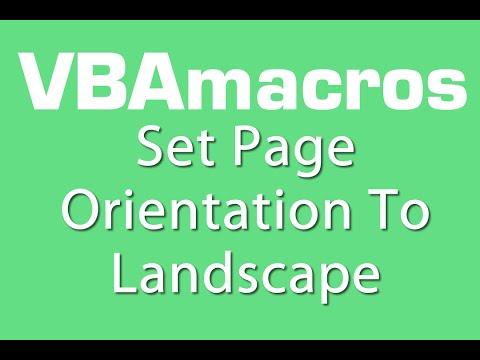 Set Page Orientation To Landscape - VBA Macros - Tutorial - MS Excel 2007