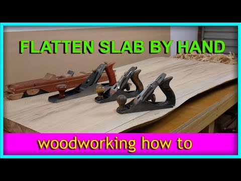 Flattening a live edge slab with hand planes - Desk part 1