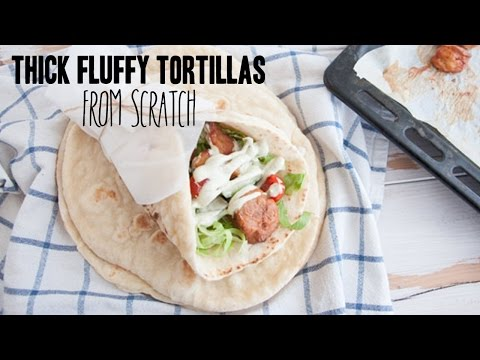 Thick Fluffy Tortillas (from scratch!) | 6 ingredients only!