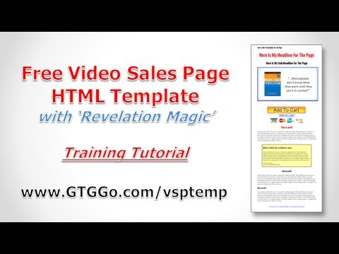 Free Video Sales Page Template InstallationTutorial