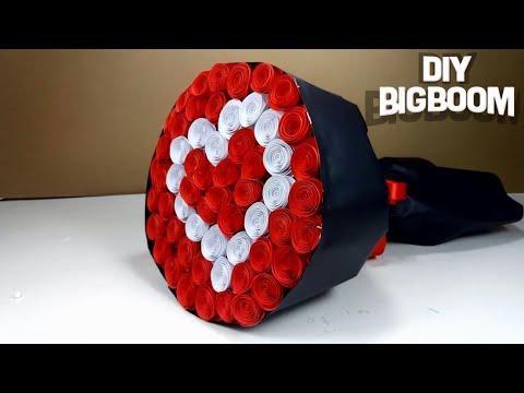 HOW TO MAKE PAPER FLOWER BOUQUET (Heart Shape) TUTORIAL EASY STEP BY STEP  2018