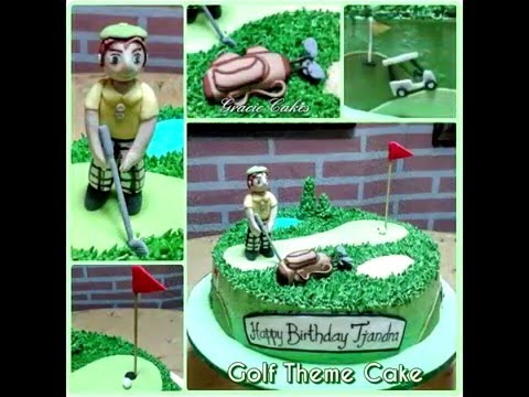 golf birthday cake in buttercream and fondant decoration