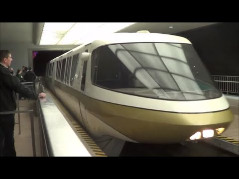 Monorail Gold (Alaska) from the Epcot station (HD POV)