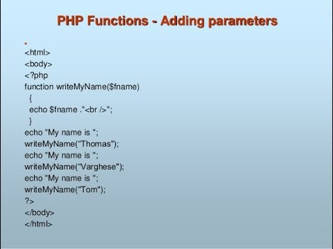 PHP-FUNCTION WITH PARAMETERS