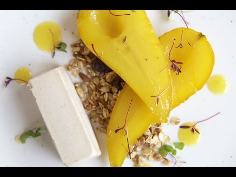 Saffron Poached Pear | Food For Friends | Vegetarian Restaurant | Brighton