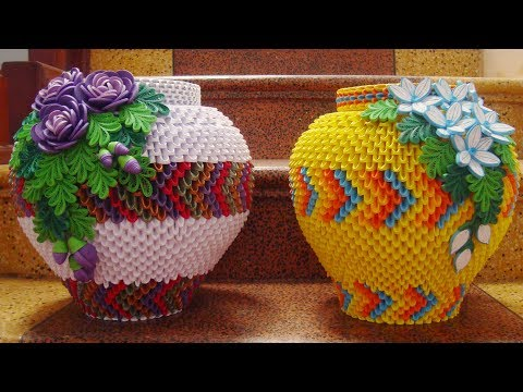How To Make 3D Origami Flower Vase V6 | cómo hacer florero de papel