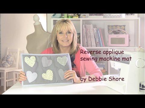 Heart reverse applique sewing machine mat by Debbie Shore