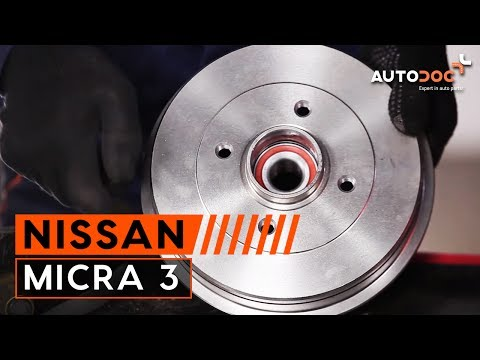 How to replace rear brake drum and wheel bearing NISSAN MICRA 3 TUTORIAL | AUTODOC