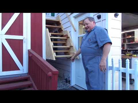 Garage Loft exterior ladder Stair folding hinge install video