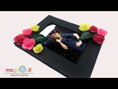 How to make photo frame at home | frame with Roses | Clay roses | project idea
