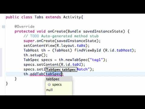Android Application Development   85   Setting up the TabHost in Java