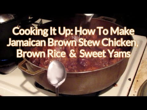 Jamaican Brown Stew Chicken W/ Brown Rice & Sweet Yams