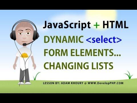 Javascript Form Select Change Options Tutorial Dynamic List Elements HTML5