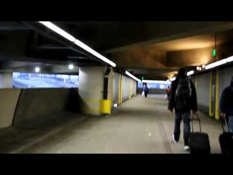 Walking in SeaTac Airport to Sound Transit's Link Light Rail Station