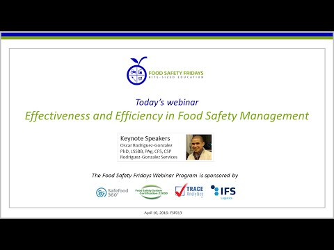 Effectiveness and Efficiency in Food Safety Management