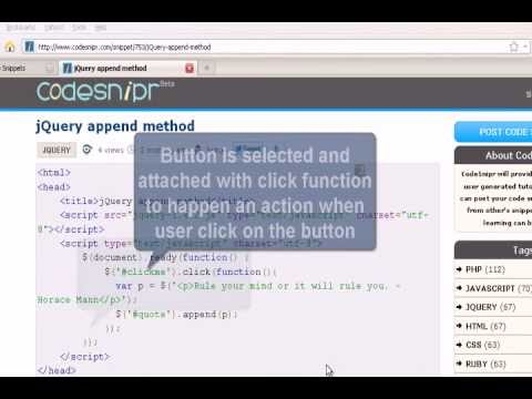 JQUERY Tutorial : jQuery append method
