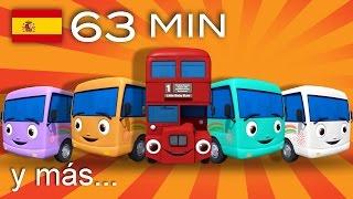 Diez autobuses | Y muchas más canciones infantiles | ¡63 min de LittleBabyBum!