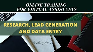 Online Training for FILIPINO Virtual Assistants Freelancers: RESEARCH, LEAD GENERATION, DATA ENTRY