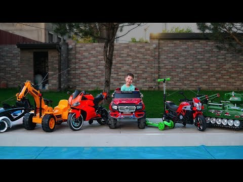Kid RIDE ON Power Wheels Cars Collection Learn colors with cars for children Funny video for kids