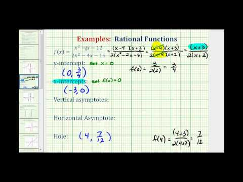Ex:  Find the Intercepts, Asymptotes, and Hole of a Rational Function