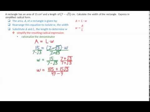 5 6 Determine Width of Rectangle Given Area and Length