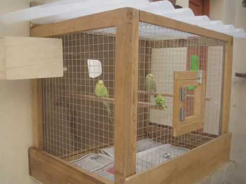 Mini Bird Cage for Parakeets with recicled wood.