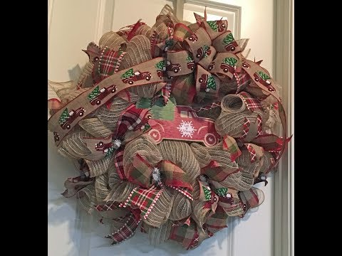 How to make a poof curl deco mesh Truck with Christmas Tree Wreath