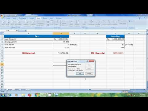 Excel 2007: how to use goal seek function with PMT formula