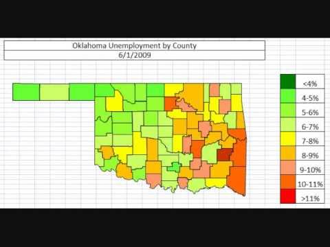 Map: Oklahoma Unemployment October 2013