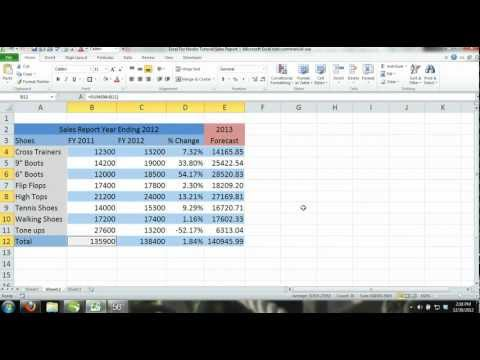 Excel 2013 Tutorial For Noobs Part 11: How to Create a workbook Sales Report & Forecast