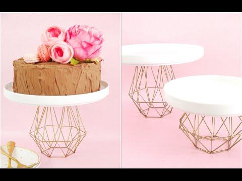 DIY Geometric Gold Cake Stand | Bird's Party