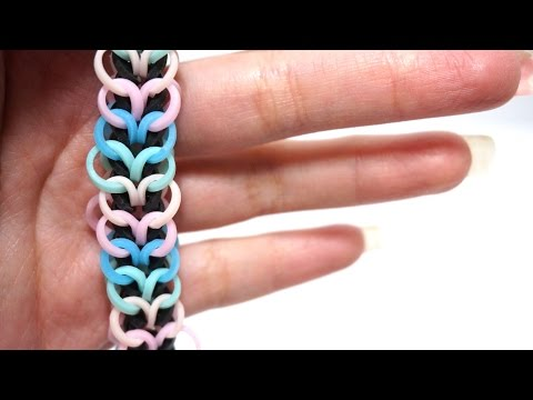 Rainbow Loom Bands Heartstring bracelet no hook with Pencil Colorful Bands DIY