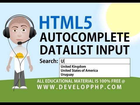 HTML5 tutorial Autocomplete Form Field Text Input Datalist List Attribute