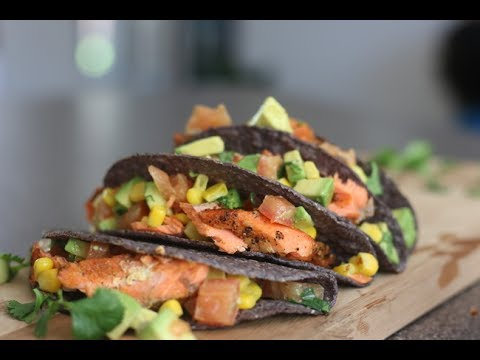 Grilled Salmon Tacos With Avocado And Corn Salsa
