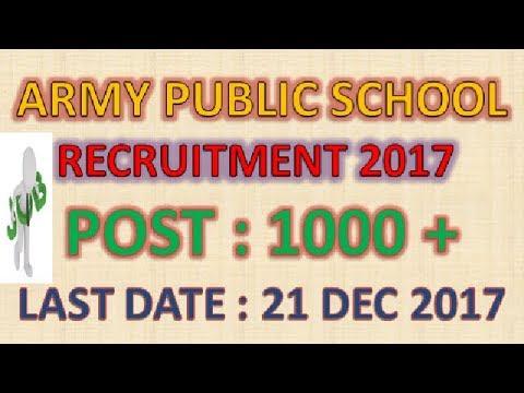 Army Public School recruitment 2017 Teacher Post Notification For PGT | TGT | PRT | latest govt jobs