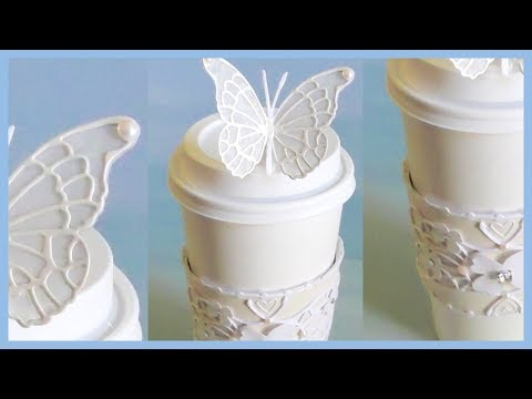 Bridal Coffee Sleeve Wedding Favor Gift with Butterfly Stopper Tutorial