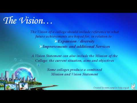 How to write a College Vision Statement