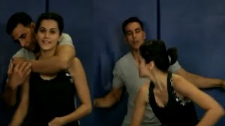 Tapsee and Akshay Kumar teach the Kohni Maar for self defense