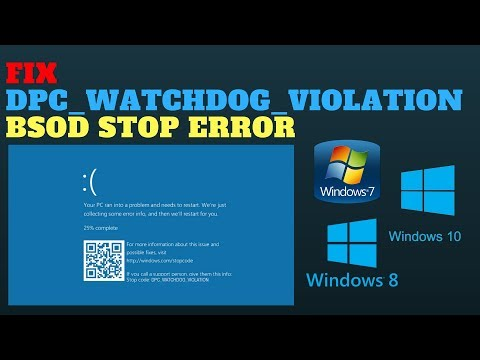 FIX DPC WATCHDOG VIOLATION BSOD STOP ERROR